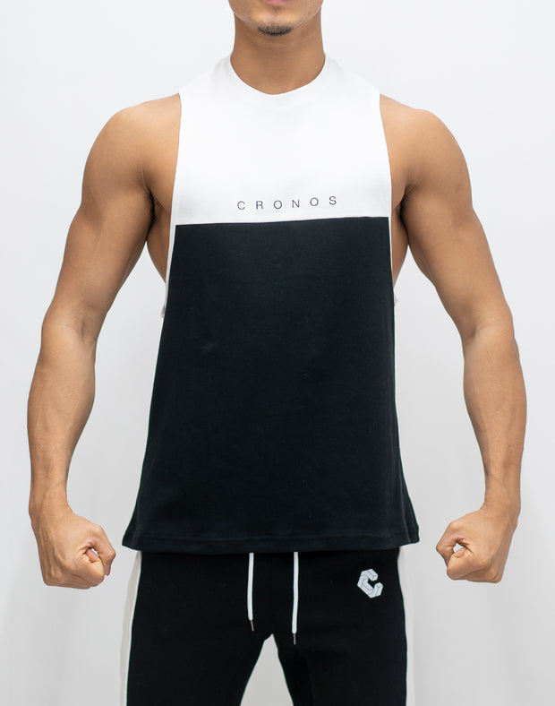 CRONOS TWO BI-COLOR TANKTOP【BLACK×WHITE】