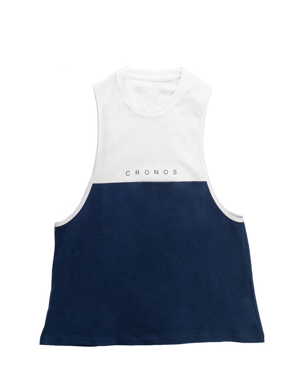 CRONOS TWO BI-COLOR TANKTOP【NAVY×WHITE】