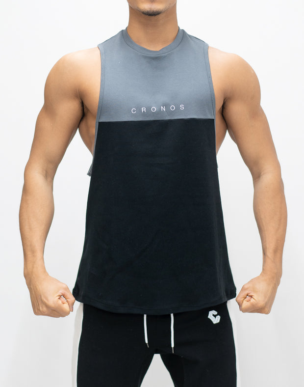 CRONOS TWO BI-COLOR TANKTOP【BLACK×C.GRAY】