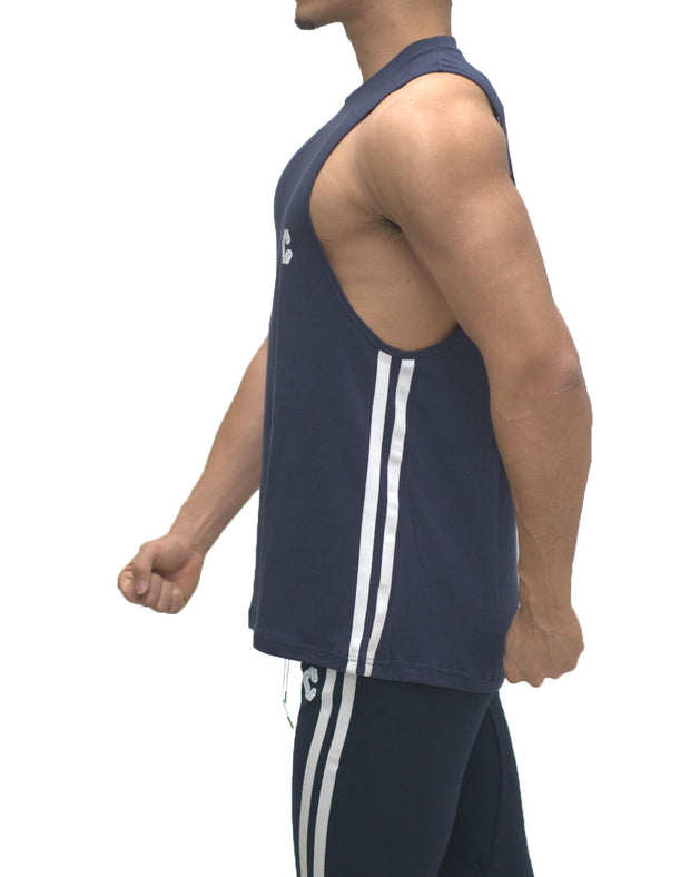CRONOS NEW SIDE TWOLINE TANK TOP【NAVY】
