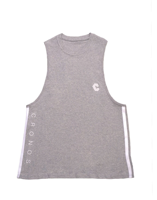CRONOS NEW SIDE TWOLINE TANK TOP【T.GRAY】