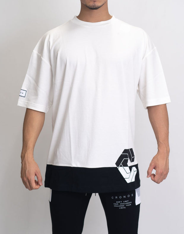 CRONOS MODE SIDE LOGO OVER SIZE T-SHIRTS WHITE×BLACK
