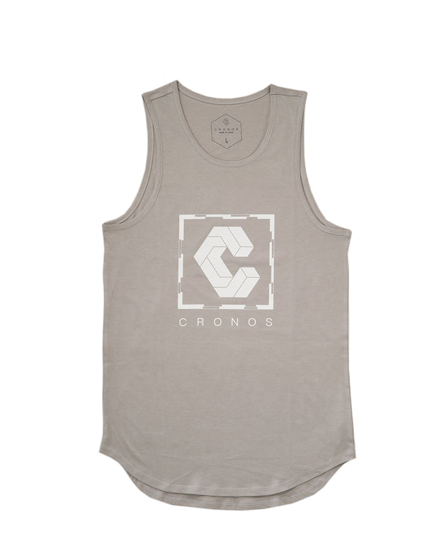 CRONOS SQUARE LOGO TANK TOP 【LIGHT GRAY】