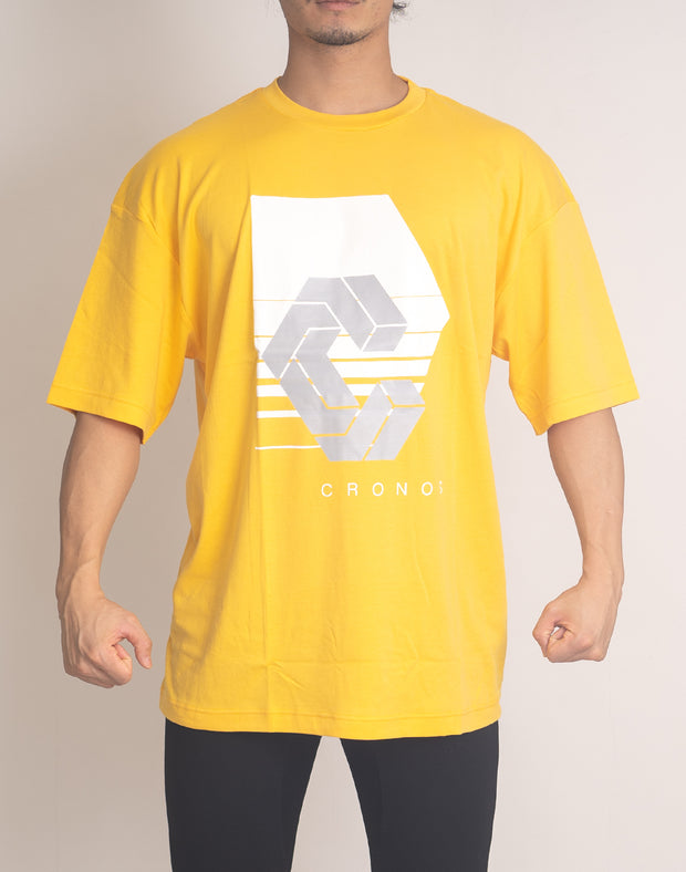 CRONOS REFLECTION LOGO OVER SIZE T-SHIRTS【YELLOW】
