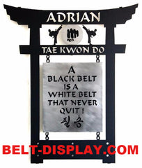 Black Belt Display: Martial Arts Belt Holder: Tae Kwon Do  & Karate Belt Display