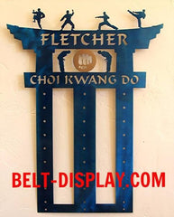 Choi-Kwang- Do: Martial Arts Belt Display Rack: Personalized Karate-Belt-Level-Display-Rack