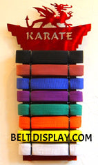 Personalized Dragon Belt  Display: Tae Kwon Do Belt-Display Rack: Martial Arts Belt Holder