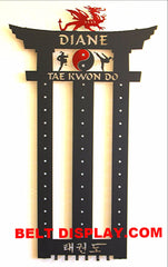 Custom Metal Martial Arts Belt Holder: Taekwondo Belt Display Rack: Custom Belt Display