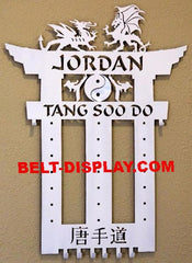 Tang Soo Do Belt  Holder: Karate Belt Rack:  Martial Arts Belt Display