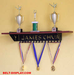 Martial Arts Trophy Shelf and Medal Display Combo