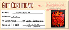 Gift certificate page