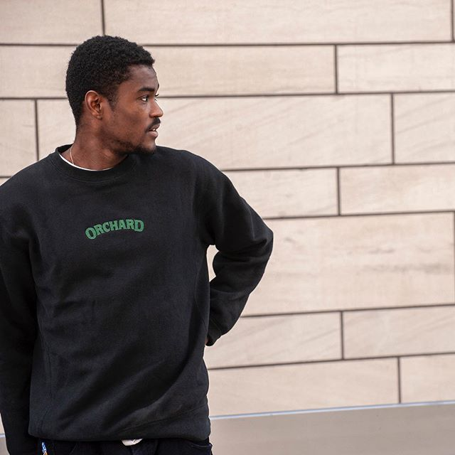 Orchard Cross Weave Text Logo Crewneck Black/Green