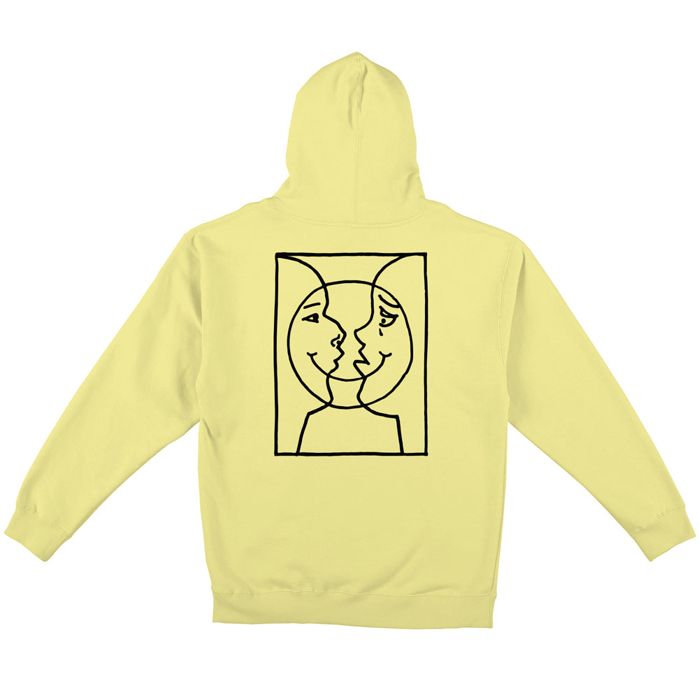 Krooked Moon Smile Raw Hoodie Light Yellow