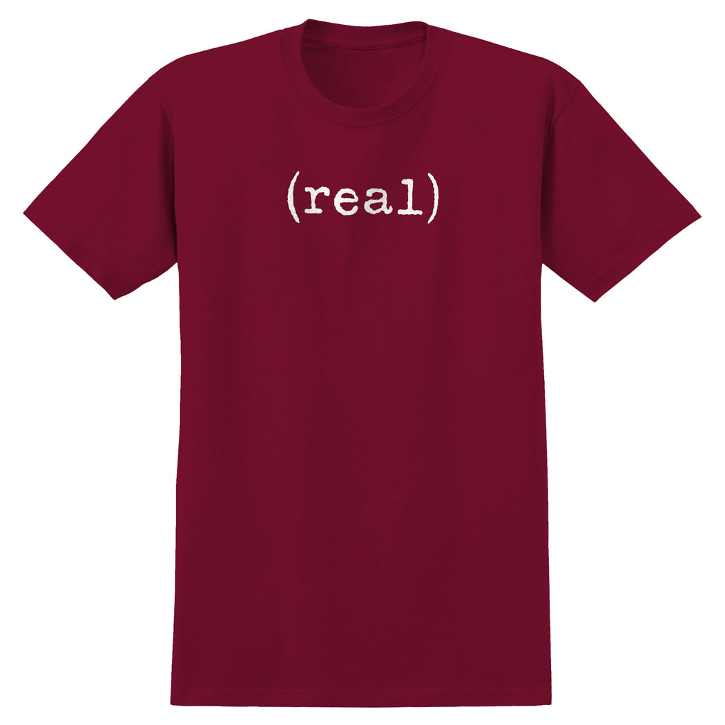 Real Lower Case Tee Cardinal/White