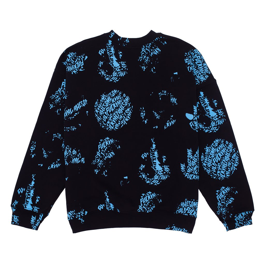 Fucking Awesome Spiral AOP Crewneck Sweatshirt Black
