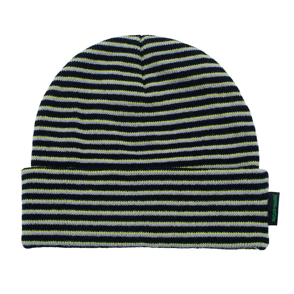 Fucking Awesome Beanie Striped Cuff Neon Green/Black