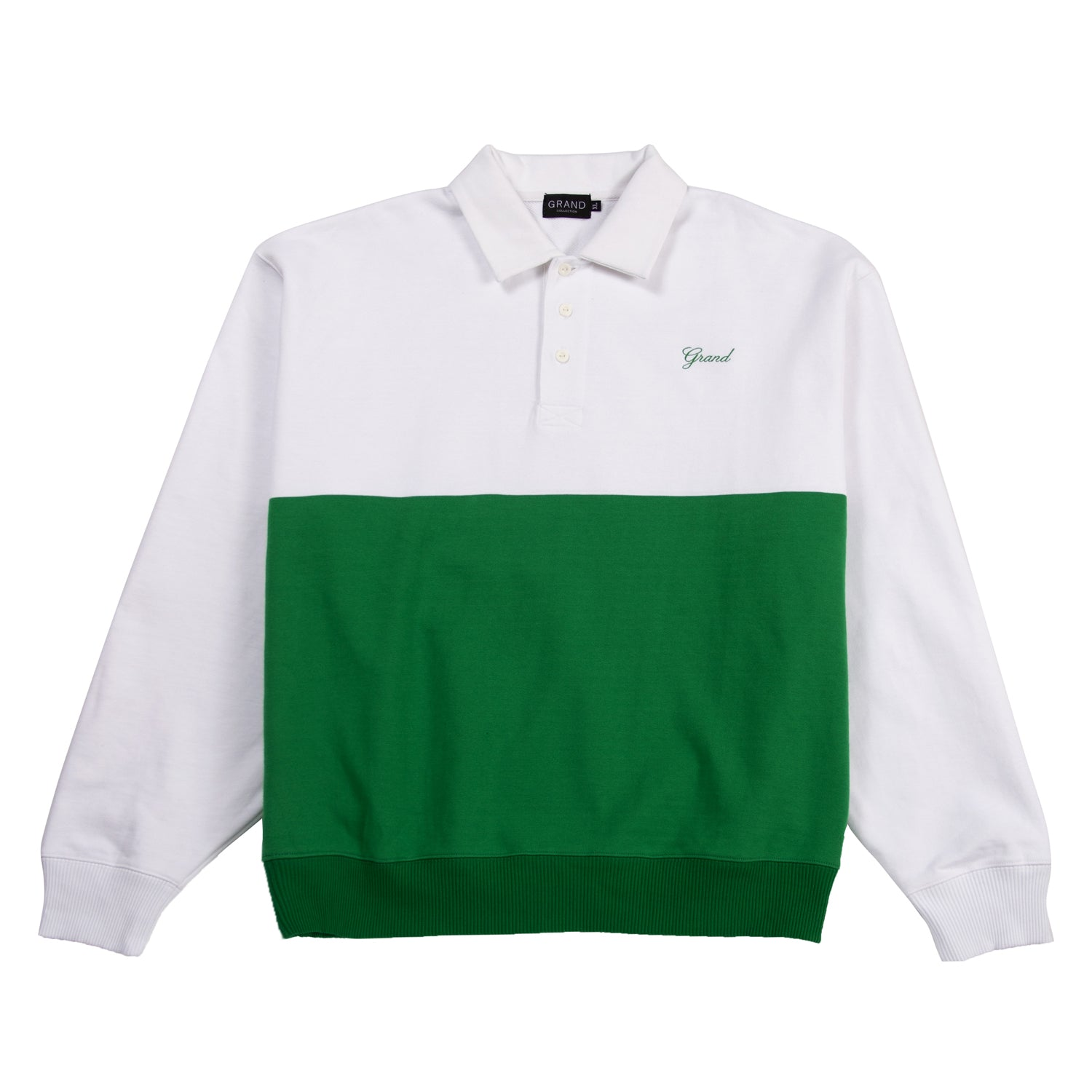 Grand Collection Collar Crewneck White/Kelly Green