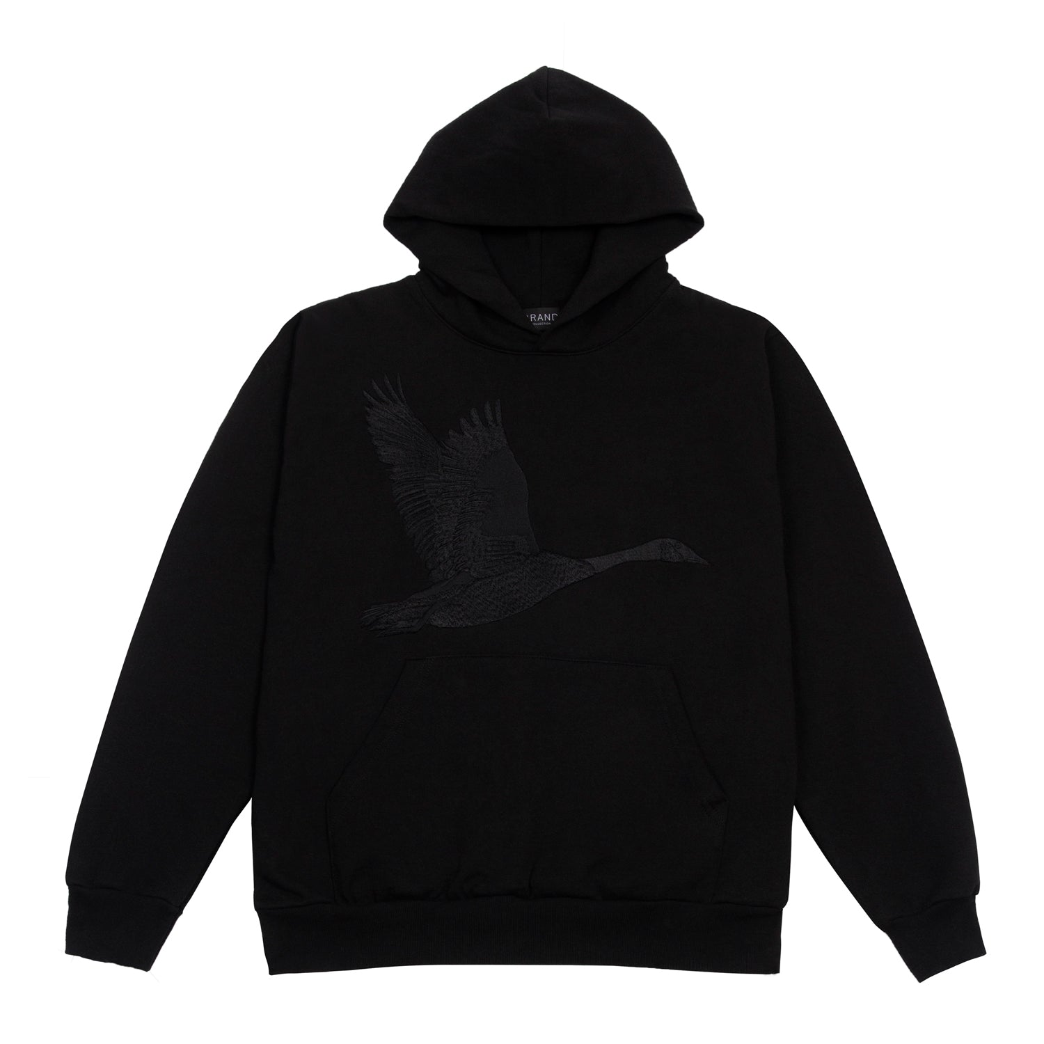Grand Collection Embroidered Goose Hoodie Black