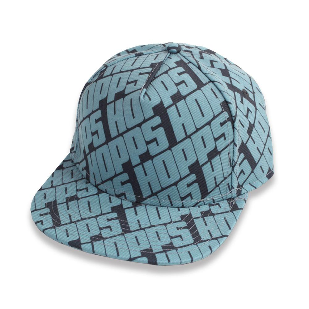 Hopps Skateboarding All Over Snapback Hat Black/Blue