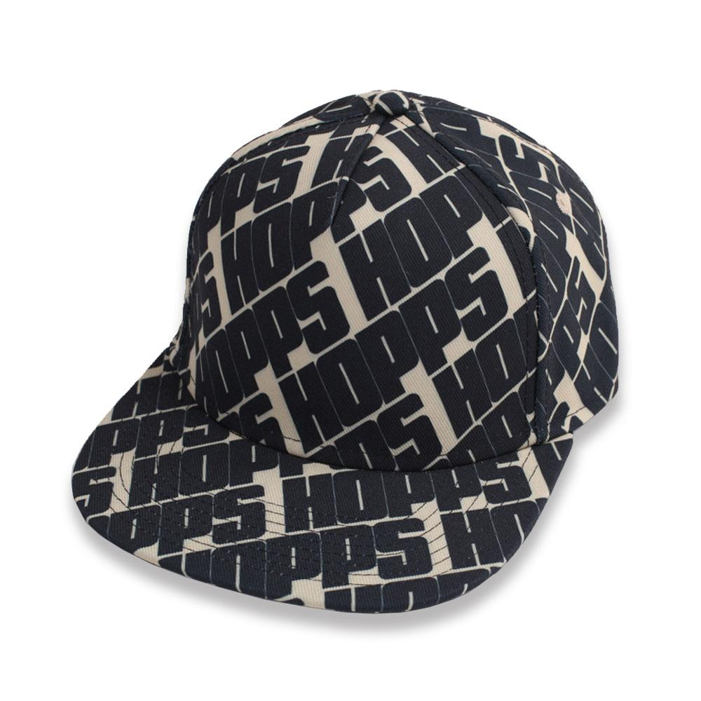 Hopps Skateboarding All Over Snapback Hat Black/Khaki