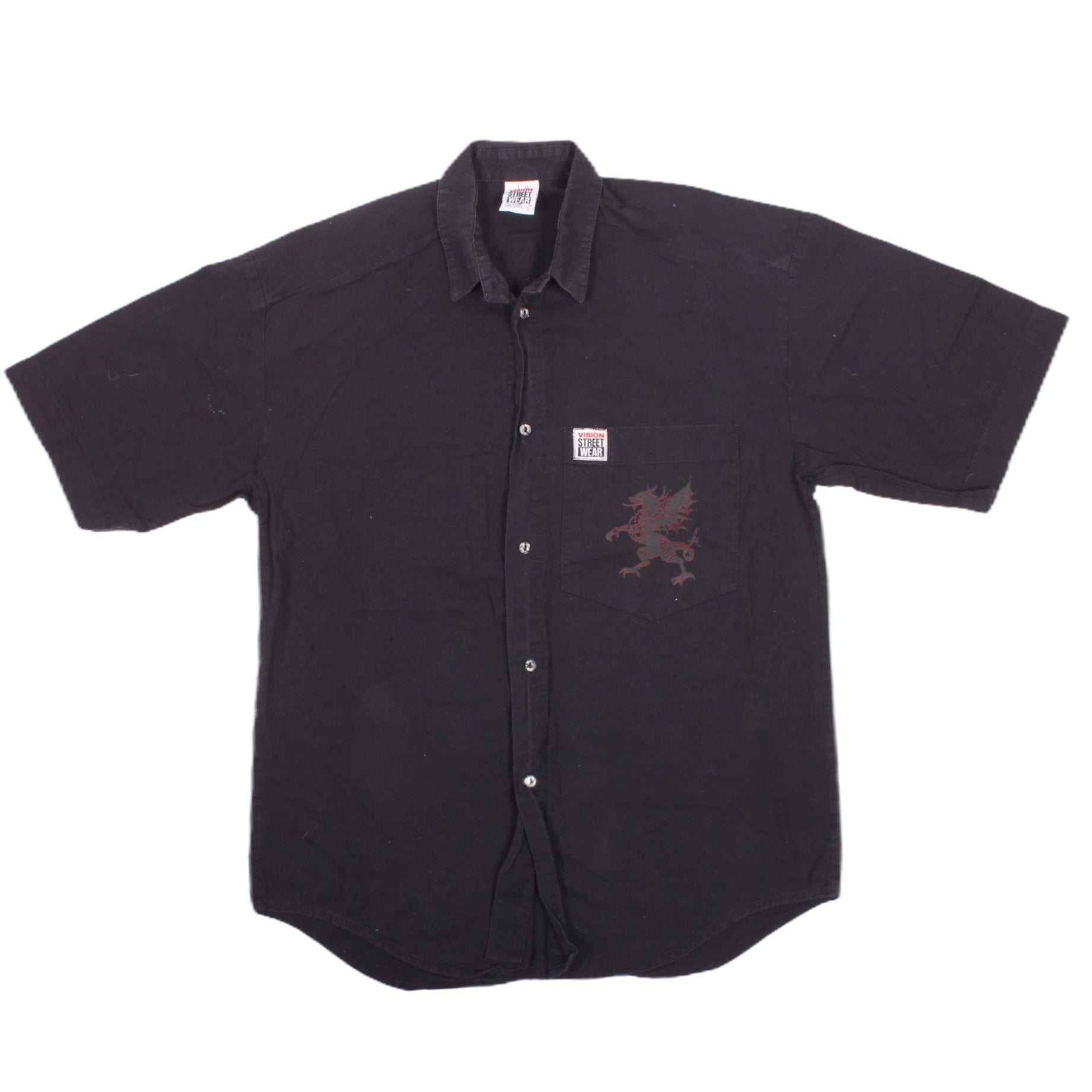 Overripe Vision Street Wear Button Up Black Dragon Small (1990)