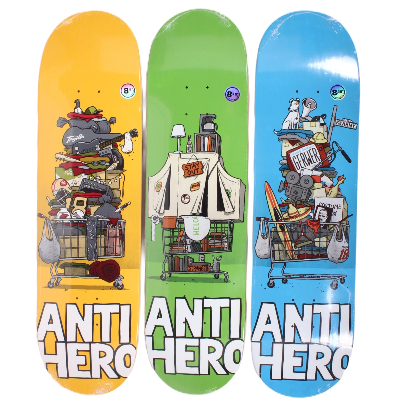 Overripe Anti Hero Set of 3 Decks Hoarder Hero Todd Francis Art 2015