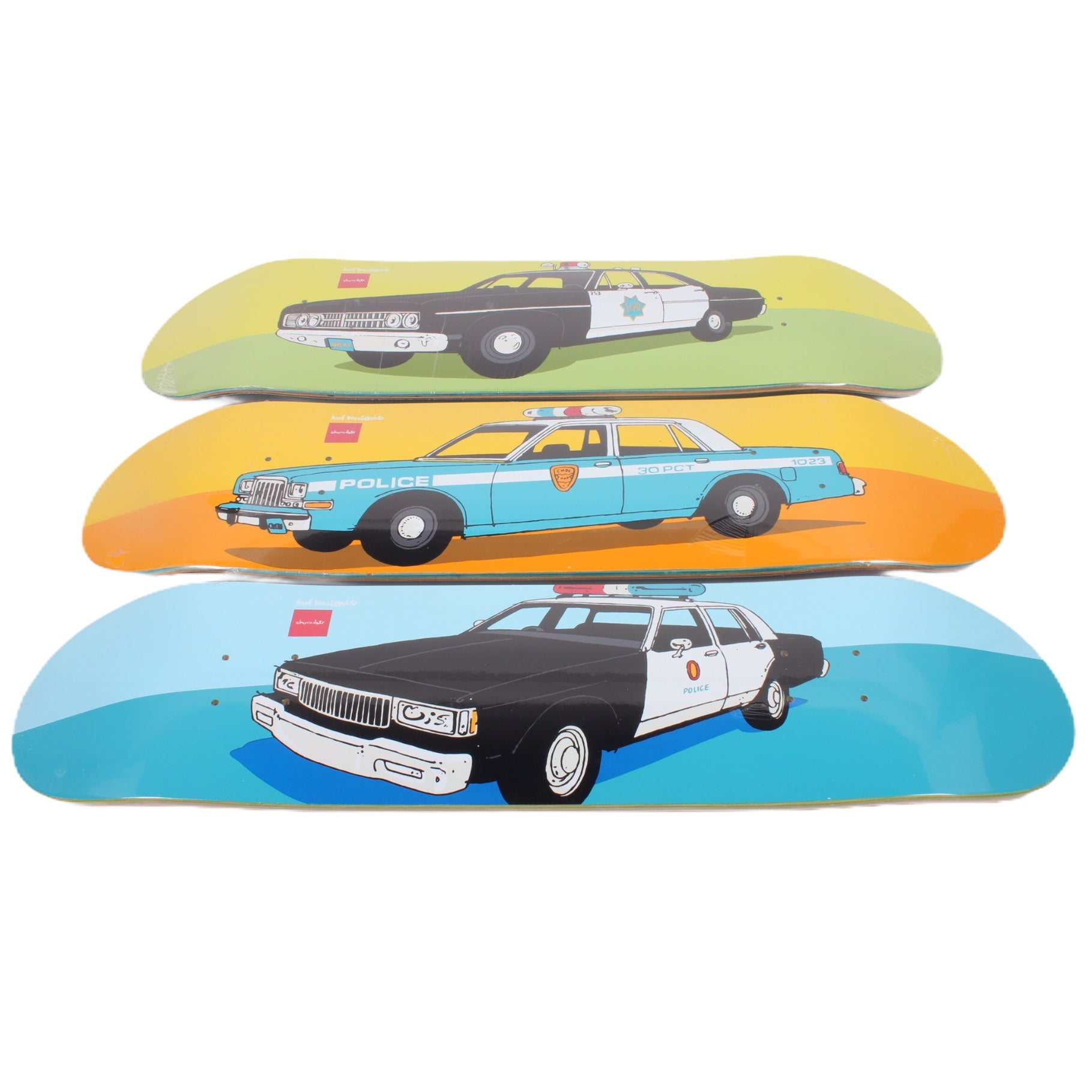Overripe Chocolate x Huf Set of 3 Decks Cop Cars by Evan Hecox 2016