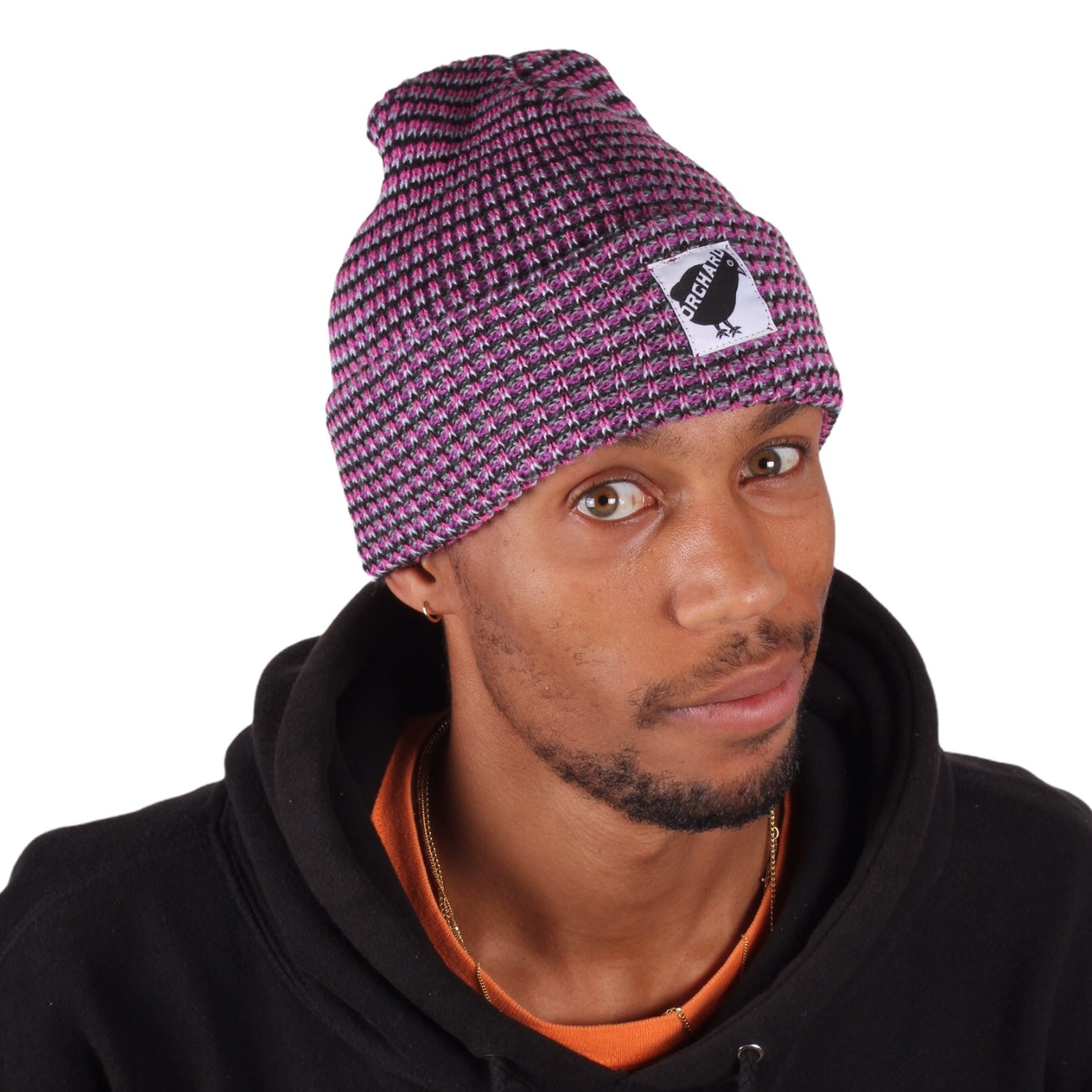 Orchard Black Bird Watch Beanie Pink/Light Blue/Navy