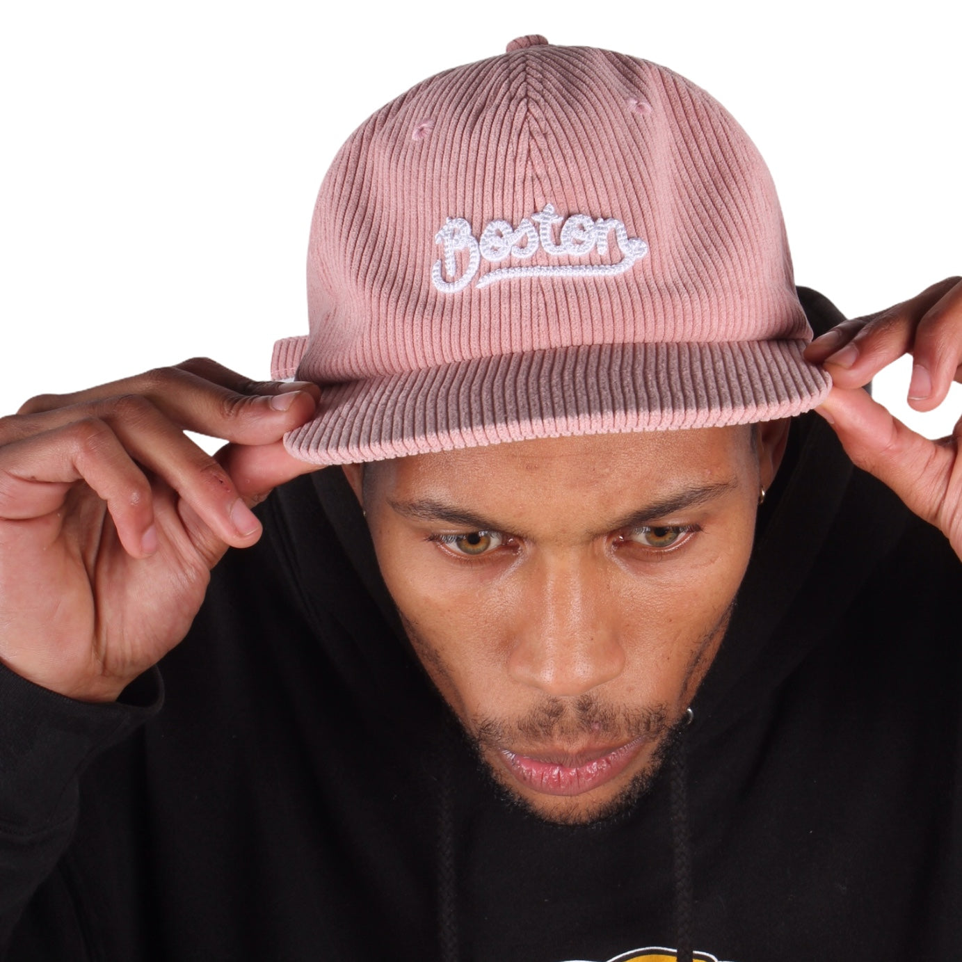 Orchard Tourist Script 6 Panel Hat Dusty Rose Corduroy