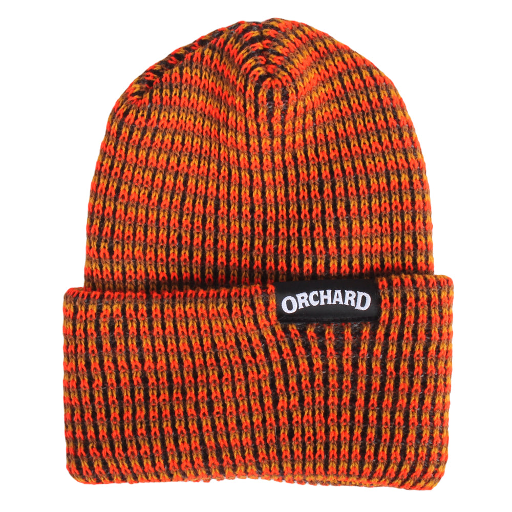 Orchard Text Label Watch Cap Orange/Brown Multi