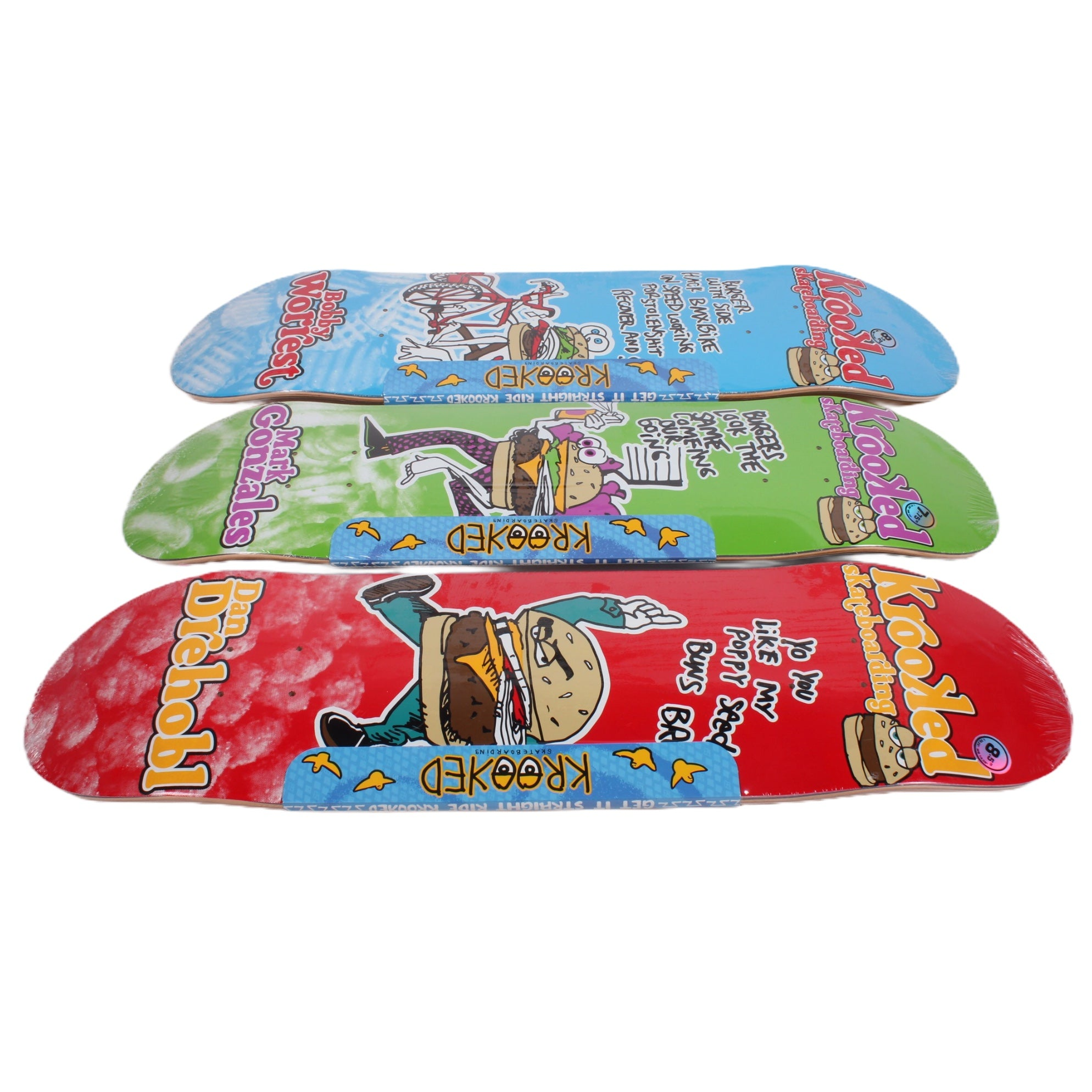 Overripe Krooked Set of 3 Decks Flying Burger Gang 2015