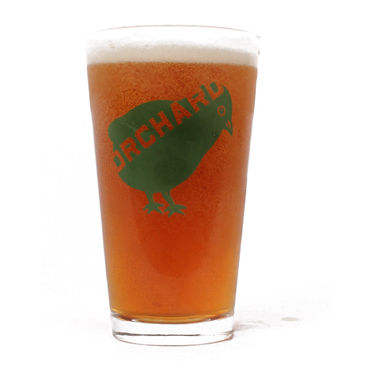 Orchard Bird Logo Pint Glass Clear/Green