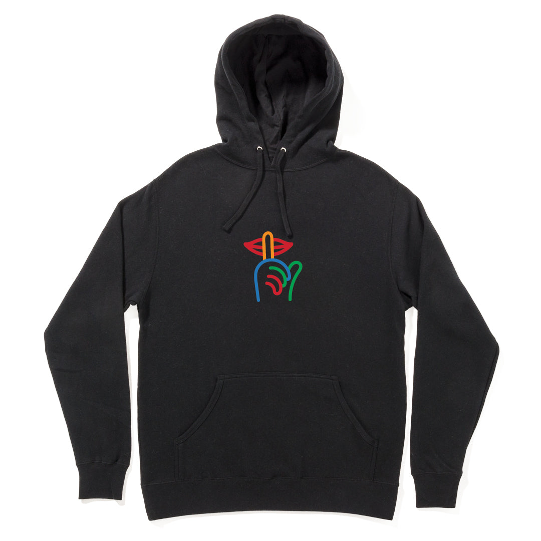 Quiet Life Rainbow Shhh Embroidered Hoodie Black