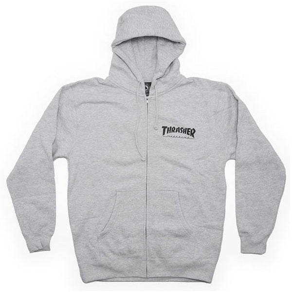 Thrasher Zip Hood Logo Grey