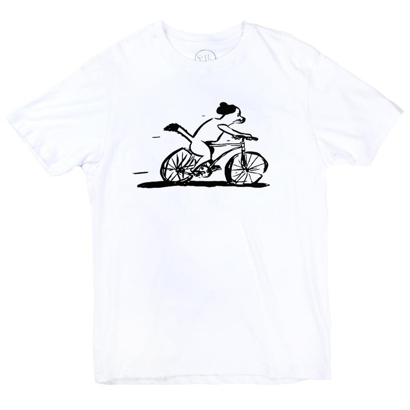 Transportation Unit Bicycle Dog Tee White