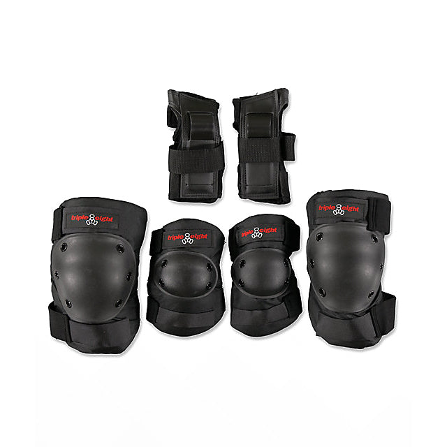 Triple 8 Protective Pads Elbow Pad/Knee Pad/Wrist Guard Black