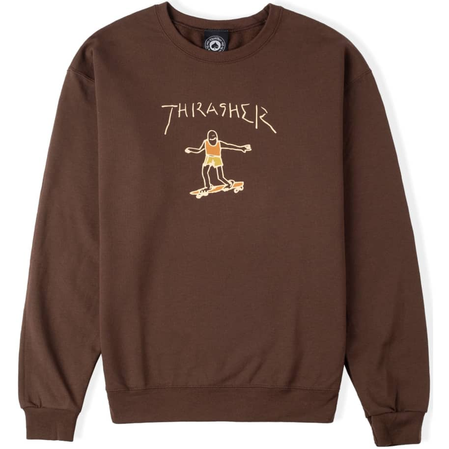 Thrasher Gonz Logo Crew Sweatshirt Dark Chocolate