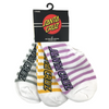 Santa Cruz Strip No Show Socks Lilac/Yellow/Grey Assorted 3 pack
