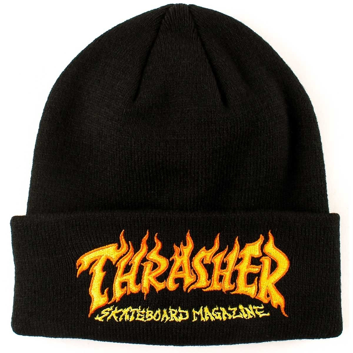 Thrasher Fire Logo Beanie Black