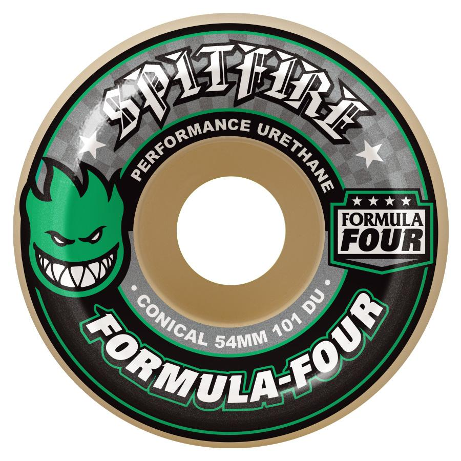 Spitfire Wheels Formula Four Conical Green Print 54mm 101a