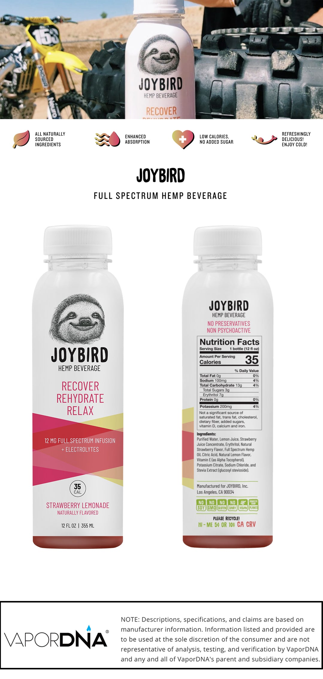 joybird cbd beverage -strawberry lemonade