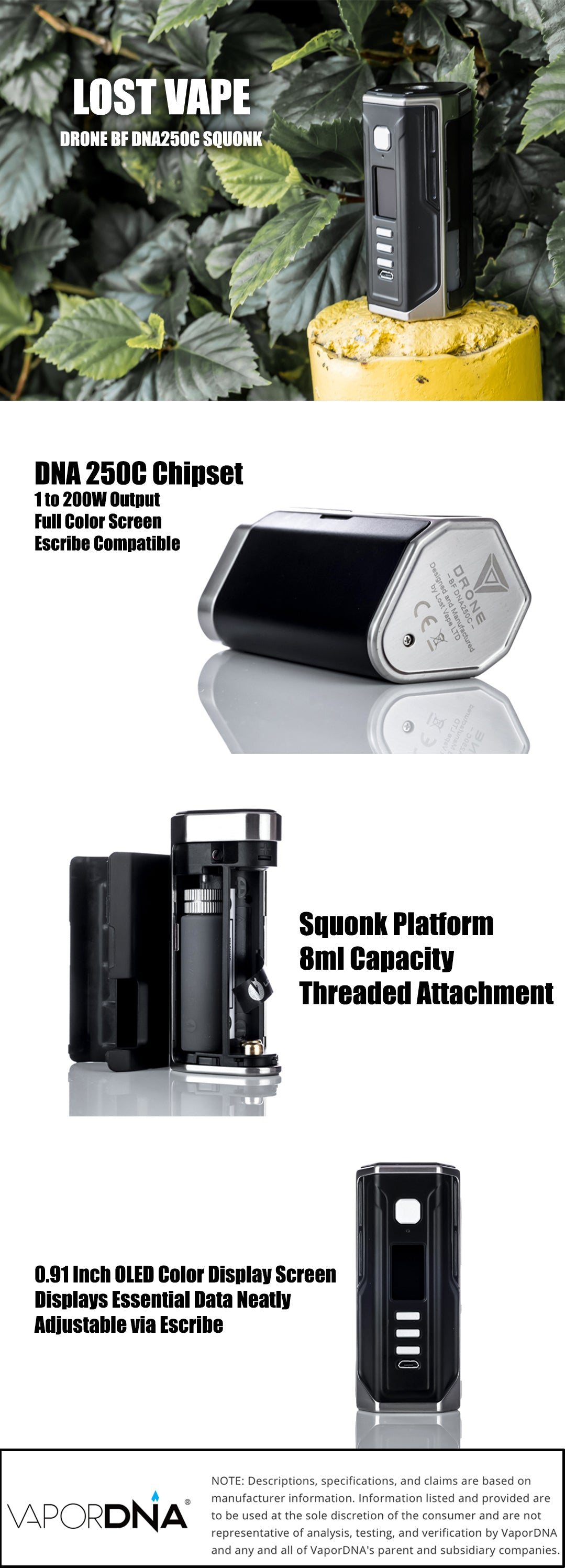 Lost Vape Drone BF Squonk DNA 250C Box Mod