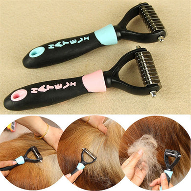 1pc Dog Pet Cat Fur Dematting Grooming Deshedding Trimmer Tool Comb Brush 10 Blade