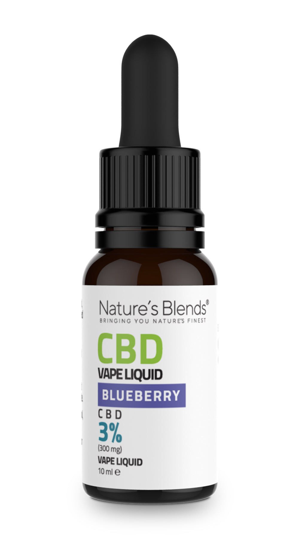 A 10ml bottle of 300mg cbd vape blueberry flavour by natures blends