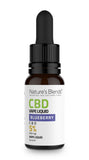 A 10ml bottle of 500mg cbd vape blueberry flavour by natures blends