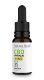 A 10ml bottle of 300mg cbd vape citrus flavour by natures blends