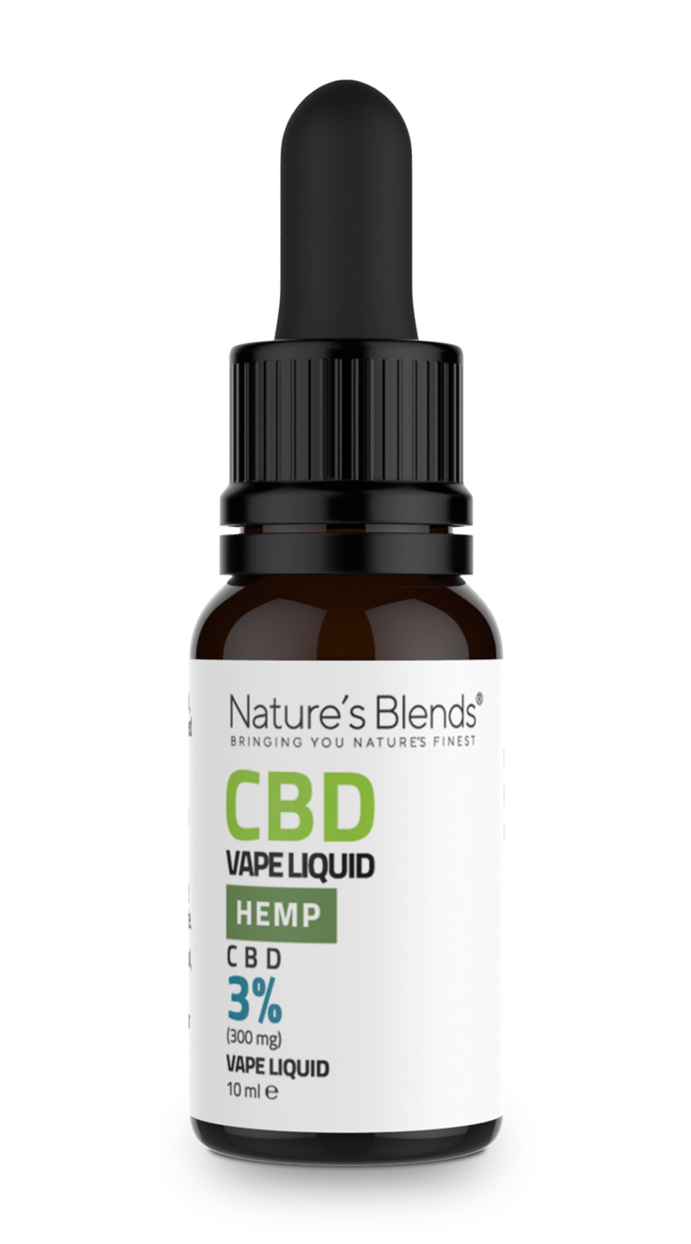A 10ml bottle of 300mg cbd vape hemp flavour by natures blends