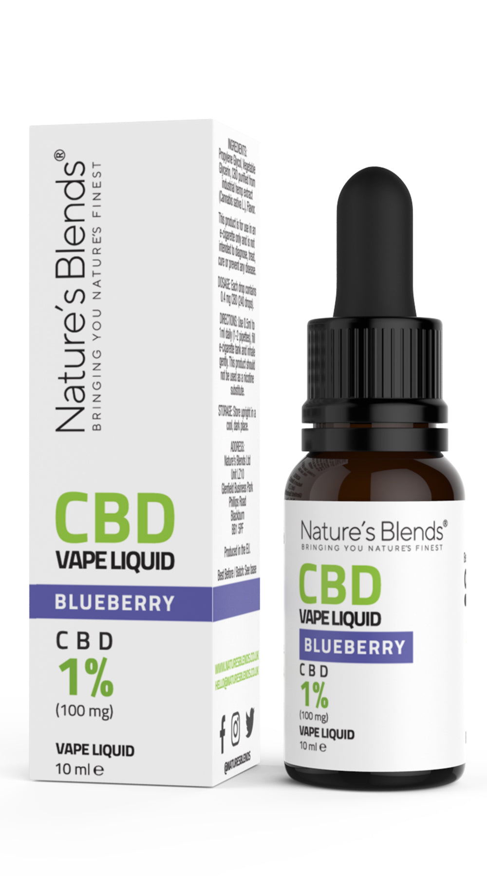 A 10ml bottle of 100mg cbd vape blueberry flavour along side natures blends packaging