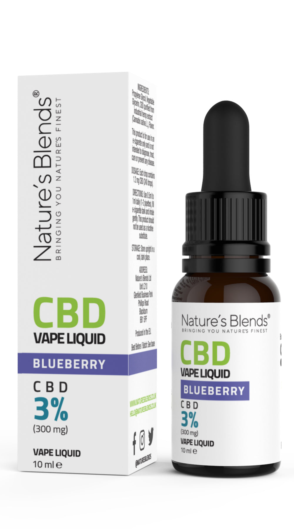 A 10ml bottle of 300mg cbd vape blueberry flavour along side natures blends packaging