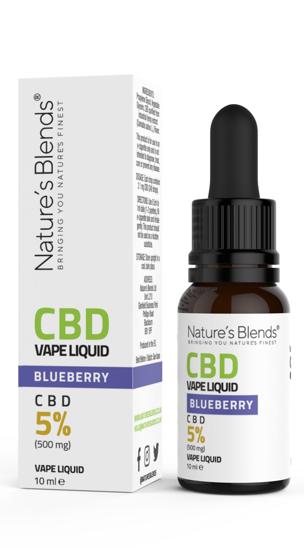 A 10ml bottle of 500mg cbd vape blueberry flavour along side natures blends packaging